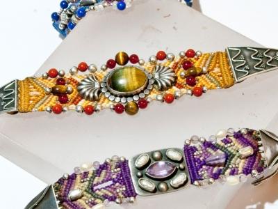 Macrame and silver bracelets